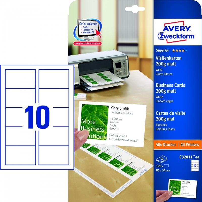 C32011 10 Superior Visitenkarten 85 X 54 Mm Einseitig Beschichtet Matt 10 Blatt 100 Stück