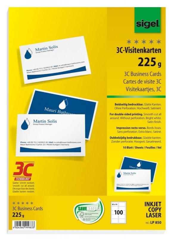 Visitenkarten 3C Glatter Schnitt Rundum 225 G Qm Hochweiss 100 Stuck
