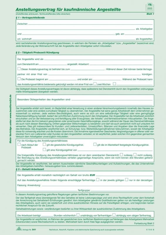 Anstellungsverträge Für Kaufmännische Angestellte Sd 2 X 2 Blatt