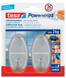 Powerstrips® Systemhaken - ablösbar, oval, chrom, Tragfähigkeit 2 kg