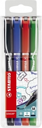 Fineliner sensor® - 0,7 mm, Kunststoffetui mit 4 Stiften