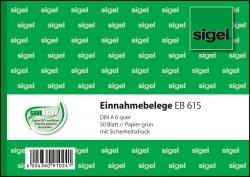 Einnahmebelege - A6 quer, Papier grün, mit Sicherheitsdruck, 50 Blatt