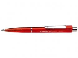 Druckkugelschreiber Optima - M, rot (dokumentenecht), rot-transparent
