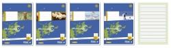 Heft LIN2 A5 16 Blatt 80g/qm 4/4/4mm liniert farbig