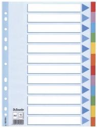Register - blanko, Karton, A4, 12 Blatt, weiß, farbige Taben
