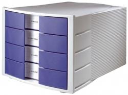 Schubladenbox IMPULS - A4/C4, 4 geschlossene Schubladen, lichtgrau-blau