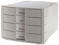 Schubladenbox IMPULS - A4/C4, 4 geschlossene Schubladen, lichtgrau