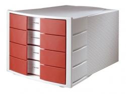 Schubladenbox IMPULS - A4/C4, 4 geschlossene Schubladen, lichtgrau-rot