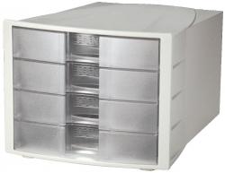 Schubladenbox IMPULS - A4/C4, 4 geschlossene Schubladen, lichtgrau-transluzent-klar