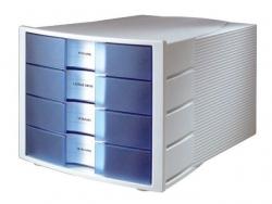 Schubladenbox IMPULS - A4/C4, 4 geschlossene Schubladen, lichtgrau-transluzent-blau