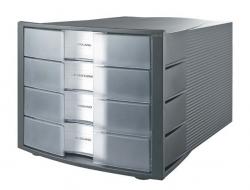 Schubladenbox IMPULS - A4/C4, 4 geschlossene Schubladen, dunkelgrau-transluzent-klar