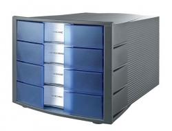 Schubladenbox IMPULS - A4/C4, 4 geschlossene Schubladen, dunkelgrau-transluzent-blau