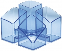 Schreibtisch-Köcher SCALA - 4 Fächern, transparent-blau