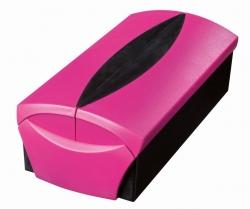 Visitenkartenbox VIP-Set -  für 500 Visitenkarten, Box+Etui, pink-schwarz
