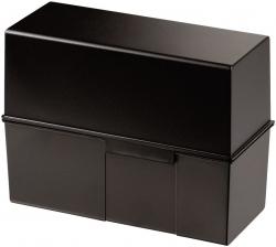 Karteibox DIN A5 quer, für 450 Karten mit Stahlscharnier, schwarz
