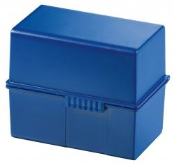 Karteibox DIN A6 quer, für 400 Karten mit Stahlscharnier, blau
