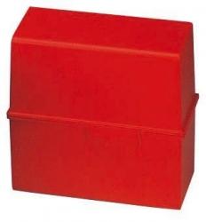 Karteibox DIN A6 quer, für 400 Karten mit Stahlscharnier, rot