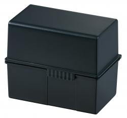 Karteibox DIN A6 quer, für 400 Karten mit Stahlscharnier, schwarz