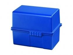 Karteibox DIN A8 quer - für 200 Karten mit Stahlscharnier, blau