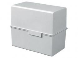 Karteibox DIN A8 quer, für 200 Karten mit Stahlscharnier, lichtgrau