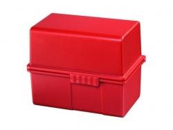 Karteibox DIN A8 quer - für 200 Karten mit Stahlscharnier, rot
