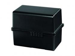 Karteibox DIN A8 quer, für 200 Karten mit Stahlscharnier, schwarz