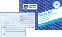 306 Quittung MwSt. separat ausgewiesen, DIN A6 quer, fälschungssicher, 2x 50 Blatt, weiß