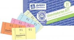 Eintrittskartenblock, Kompaktblock, farbig sortiert, 100 Blatt / Block/50 Stück, gelb, orange, pink, blau, grün