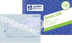 1250 Quittung MwSt. separat ausgewiesen, DIN A6 quer, fälschungssicher, 100 Blatt, weiß