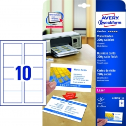 C32016-10 Premium Visitenkarten, 85 x 54 mm, beidseitig beschichtet - satiniert, 10 Blatt/100 Stück