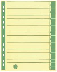 Trennblätter, farbiger Rahmendruck - A4 Überbreite, grün, 100 Stück