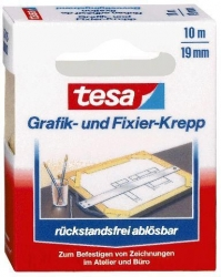 Fixierband Grafik- und Fixier-Krepp, Papier, 10 m x 19 mm, beige