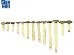 Musterbeutelklammer, 8,5 mm, 25 mm, vermessingt, Dose mit 100 Stück