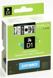 Schriftband D1, Kunststoff, laminiert, 7 m x 24 mm, Schwarz/Weiß