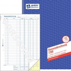 1768 Kassenabrechnung, DIN A4, mit MwSt.-Spalte, 2 x 40 Blatt, weiß, gelb