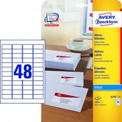 J4791-25 Adress-Etiketten (Papier matt, 1.200 Stück, 45,7 x 21,2 mm) 25 Blatt weiß