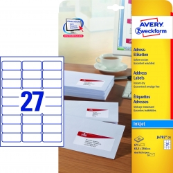 J4792-25 Adress-Etiketten (Papier matt, 675 Stück, 63,5 x 29,6 mm) 25 Blatt weiß