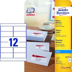 J8177-25 Adress-Etiketten (A4, Papier matt, 300 Stück, 99,1 x 42,3 mm) 25 Blatt weiß