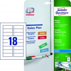 J8871-5 Magnet-Schilder, 78 x 28 mm, spezialbeschichtet, 5 Blatt/90 Etiketten, weiß