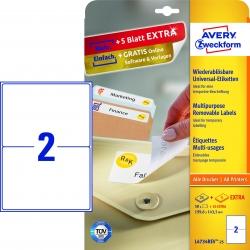 L4734REV-25 Universal-Etiketten - 199,6 x 143,5 mm, weiß, 60 Etiketten/30 Blatt, wiederablösbar