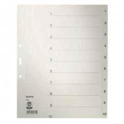 1232 Zahlenregister - 1-10, Papier, A4 Überbreite, 10 Blatt, grau