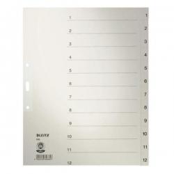 1233 Zahlenregister - 1-12, Papier, A4 Überbreite, 12 Blatt, grau
