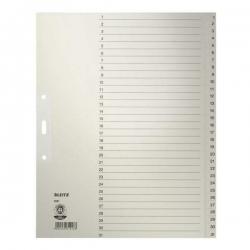 1231 Zahlenregister - 1-31, Papier, A4 Überbreite, 31 Blatt, grau