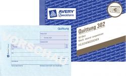 302 Quittung MwSt. separat ausgewiesen, DIN A6 quer, fälschungssicher, 50 Blatt, weiß