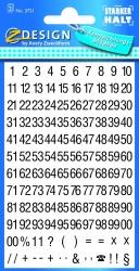 3721 Zahlen-Etiketten - 0-99, 6,5 mm, schwarz, selbstklebend, witterungsbeständig, 250 Etiketten