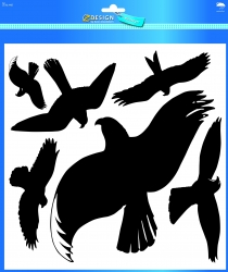 4485 Home Fensterwarnvögel Kunststoff-Folie 14,5x4,5mm schwarz, transparent, 1Bogen