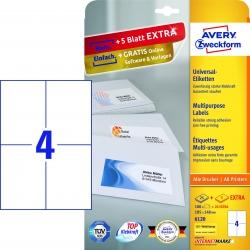 6120 Universal-Etiketten - 105 x 148 mm, weiß, 120 Etiketten/30 Blatt, permanent