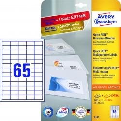 6121 Universal-Etiketten, 38 x 21,2 mm, 30 Bogen/1.950 Etiketten, weiß