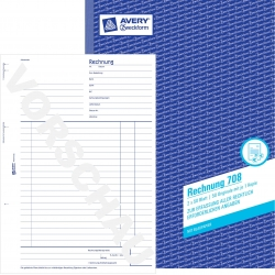 708 Rechnung, DIN A4, vorgelocht, 2 x 50 Blatt, weiß