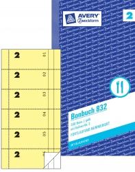 832 Bonbuch, Kompaktblock, mit Kellner-Nr., 2 x 50 Blatt, gelb